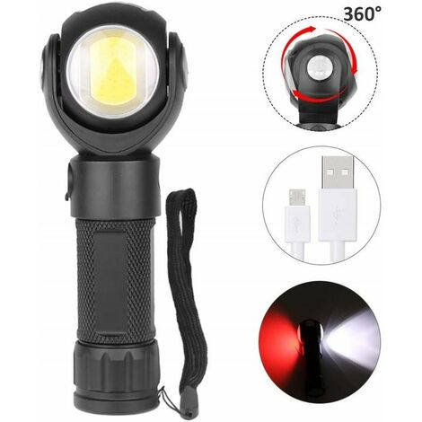 "main image of ""Perle Rare COB-Arbeitslampe Taschenlampe LED wiederaufladbare USB-Rotation 360 °"""