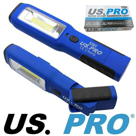 COB WORK LIGHT & LED TORCH by US PRO Super Bright Rechargeable Magbender Body
