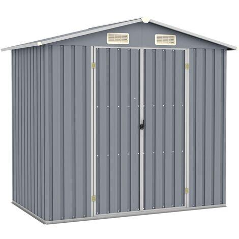 Cobertizo de jardín acero galvanizado gris 205x129x183 cm - Gris