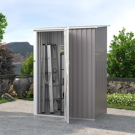 Cobertizo de jardín chapa galvanizada de metal gris caseta de herramientas AMALFI 143X89x186cm