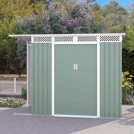 Cobertizo de jardín chapa galvanizada verde caseta de herramientas TYROL NATURE 257X142x184cm