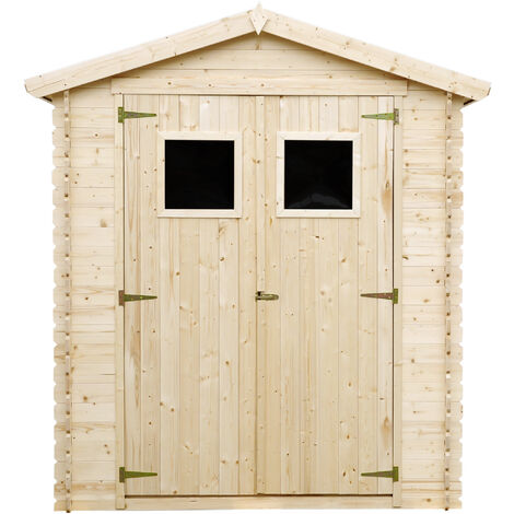 Cobertizo de madera para jardín - 136x169cm/1.98m² Cobertizo de madera natural - Taller de Jardín - Bicicleta, Almacenamiento de herramientas TIMBELA M367