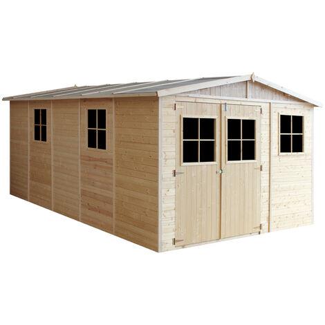 Cobertizo de madera para jardín - 324x516cm/15m² Cobertizo de madera natural - Taller de Jardín - Bicicleta, Almacenamiento de herramientas TIMBELA337