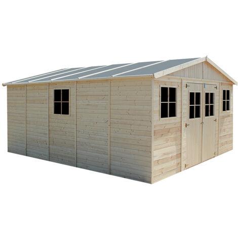Cobertizo de madera para jardín - 418x520cm/20m² Cobertizo de madera natural - Taller de Jardín - Bicicleta, Almacenamiento de herramientas TIMBELA333