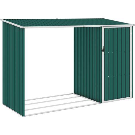 Cobertizo jardín de leña acero galvanizado verde 245x98x159 cm