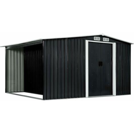 Cobertizo jardín puertas correderas acero gris 329,5x259x178 cm - Gris