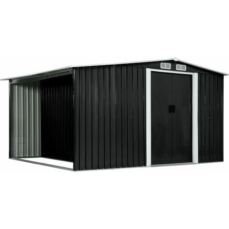 Cobertizo jardin puertas correderas acero gris 329,5x259x178 cm (no se puede enviar a Baleares)