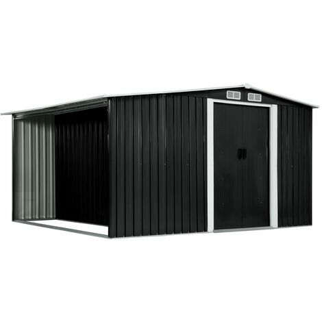 Cobertizo jardin puertas correderas acero gris 329,5x312x178 cm(no se puede enviar a Baleares)