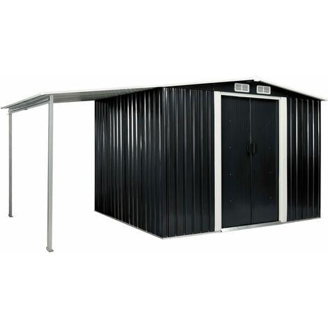 Cobertizo jardín puertas correderas acero gris 386x205x178 cm
