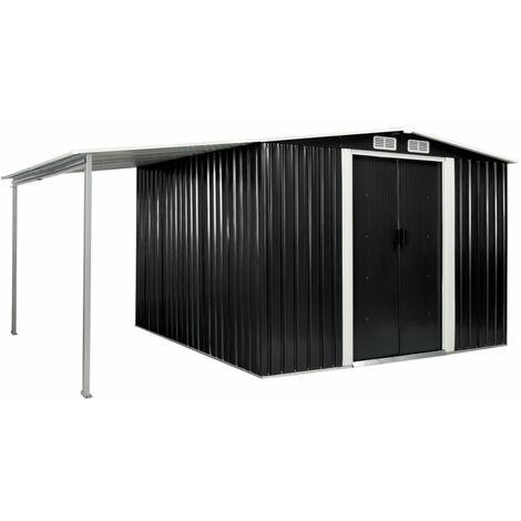 Cobertizo jardin puertas correderas acero gris 386x259x178 cm