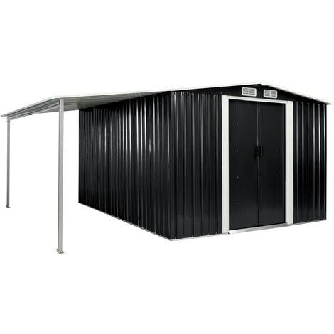 Cobertizo jardín puertas correderas acero gris 386x312x178 cm