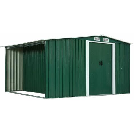 Cobertizo jardín puertas correderas acero verde 329,5x312x178cm - Verde