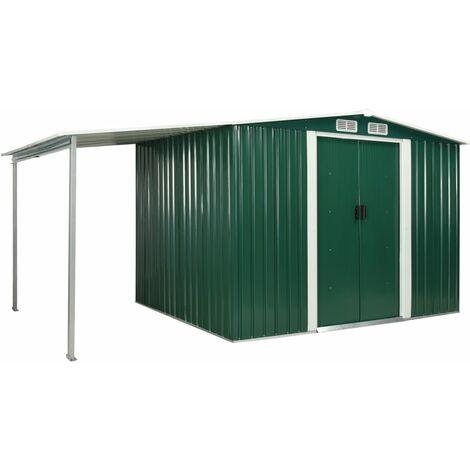 Cobertizo jardín puertas correderas acero verde 386x205x178 cm