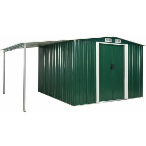 Cobertizo jardín puertas correderas acero verde 386x259x178 cm