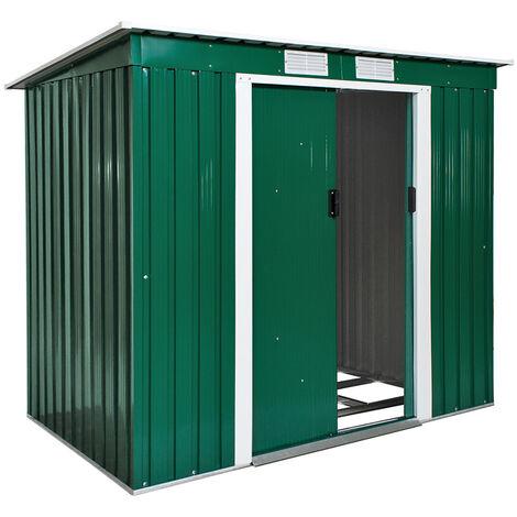 Cobertizo para jardín con tejado plano - caseta de jardín de chapa de acero, casa de jardín con base de metal y puerta corredera, cobertizo amplio para patio