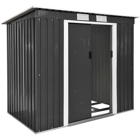 Cobertizo para jardín con tejado plano - caseta de jardín de chapa de acero, casa de jardín con base de metal y puerta corredera, cobertizo amplio para patio - gris