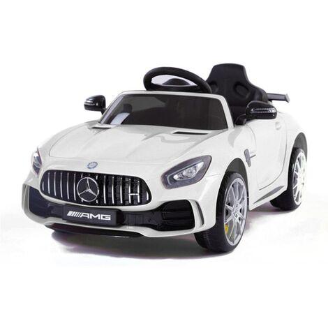 Coche eléctrico- Mercedes GTR blanco con radio control