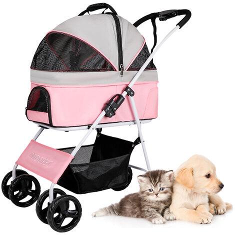 Cochecito del animal domestico para el gato del perro jaula desmontable cochecito plegable para mascotas perro portador Pasear Cesta cuatro ruedas para los animales domesticos dentro de 20 kg, color de rosa