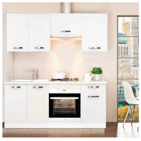 Cocina completa 180 cm color blanco KIT-KIT Complementos con zócalo y encimera