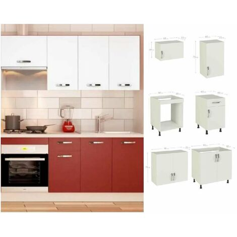 Cocina completa 180 cm color burdeos-blanco KIT-KIT Complementos con zócalo y encimera