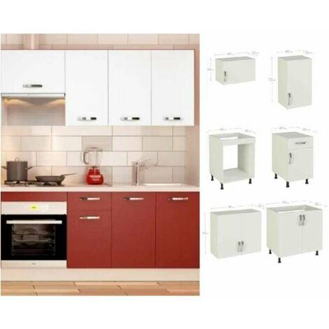 Cocina completa 180 cm color burdeos-blanco KIT-KIT Complementos sin zócalo y sin encimera