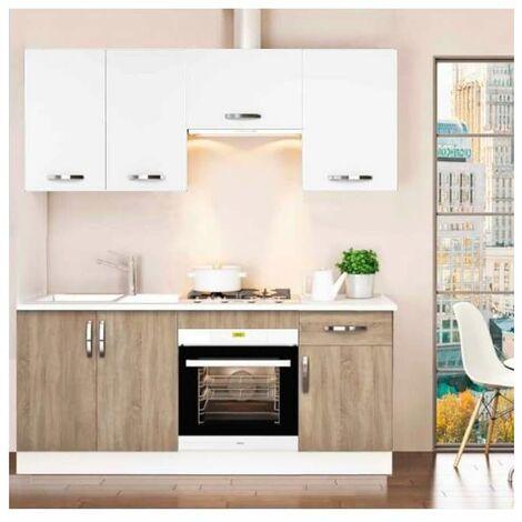 Cocina completa 180 cm color roble-blanco KIT-KIT Complementos con zócalo y encimera