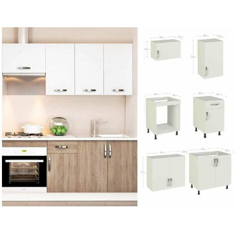 Cocina completa 180 cm color roble-blanco KIT-KIT Complementos sin zócalo y sin encimera