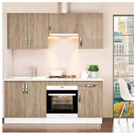 Cocina completa 180 cm color roble KIT-KIT Complementos con zócalo y encimera