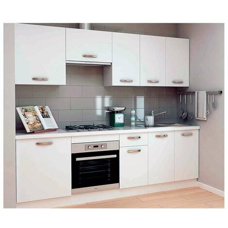 Cocina completa 240 cm color blanco KIT-KIT Complementos con zócalo y encimera