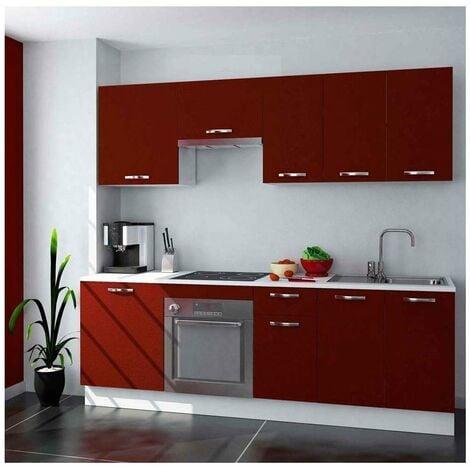 Cocina completa 240 cm color burdeos KIT-KIT Complementos con zócalo y encimera