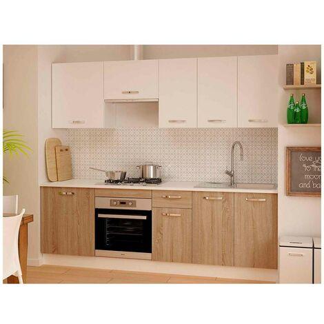 Cocina completa 240 cm color roble-blanco KIT-KIT Complementos con zócalo y encimera