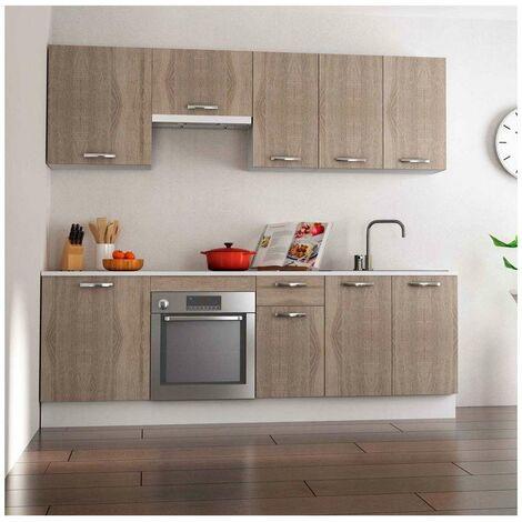 Cocina completa 240 cm color roble KIT-KIT Complementos con zócalo y encimera