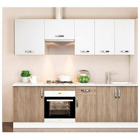 Cocina completa 240 cm(ancho) color roble-blanco KIT-KIT