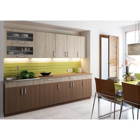 Cocina completa 260 cms color madera y cafe, encimera y zocalos incluidos, ref-39