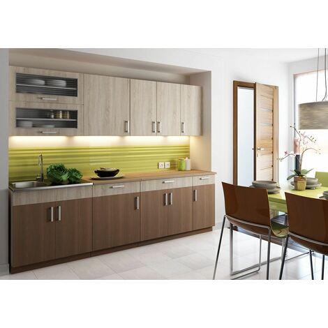 Cocina completa 260 cms color madera y cafe, encimera y zocalos incluidos, ref-39a
