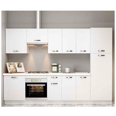 Cocina completa 3 metros color blanco KIT-KIT Complementos con zócalo y encimera