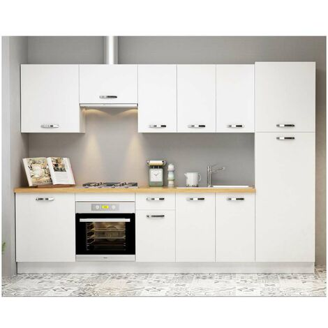 Cocina completa 3 metros color blanco KIT-KIT Complementos sin zócalo y sin encimera