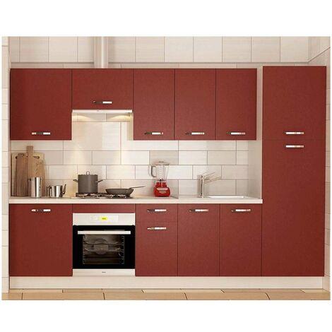 Cocina completa 3 metros color burdeos KIT-KIT Complementos con zócalo y encimera