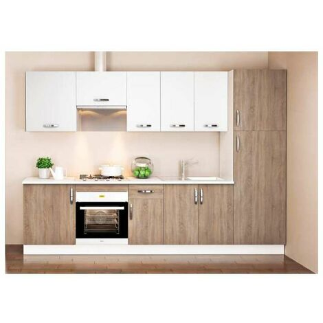 Cocina completa 3 metros color roble-blanco KIT-KIT Complementos con zócalo y encimera
