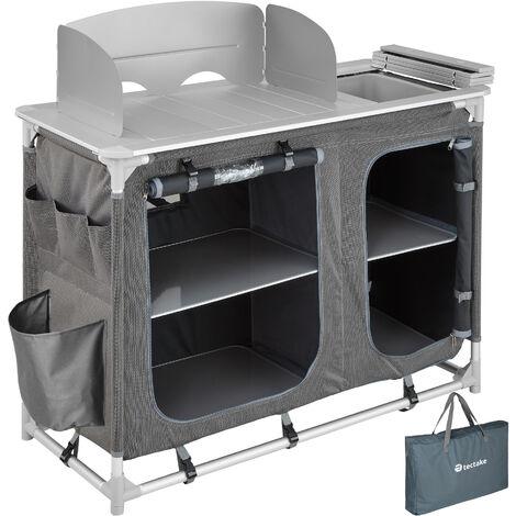 Cocina de camping 116x52x107cm - cocina plegable de madera y aluminio, cocinilla de camping para cocina de gas con bolsa, cocina de camping gas con patas ajustables