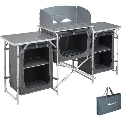 Cocina de camping 172x52x104cm - cocina plegable de madera y aluminio, cocinilla de camping para cocina de gas con bolsa, cocina de camping gas con patas ajustables