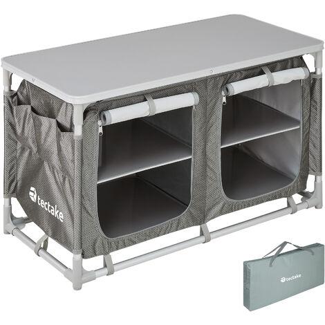 Cocina de camping 97x47,5x56,5cm - cocina plegable de madera y aluminio, cocinilla de camping para cocina de gas con bolsa, cocina de camping gas con patas ajustables