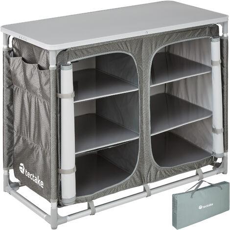 Cocina de camping 97x47,5x78cm - cocina plegable de madera y aluminio, cocinilla de camping para cocina de gas con bolsa, cocina de camping gas con patas ajustables