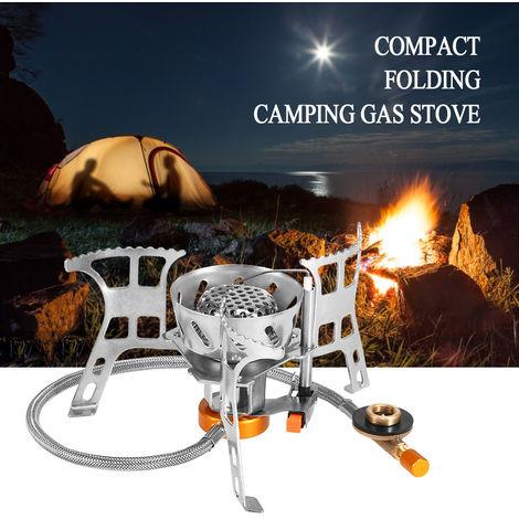 Cocina de camping gas al aire libre Cocina plegable de Split quemador con adaptador de cabezal de conversion de gas, estufa con adaptador