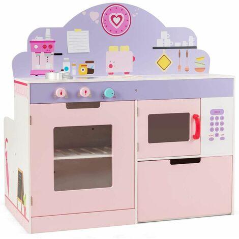 Cocina de Juguete para Niños con Restaurante Juego de rol de Doble Cara Cocinita para Niños con Estufa,Horno,Horno Microondas y Estantes de Almacenamiento