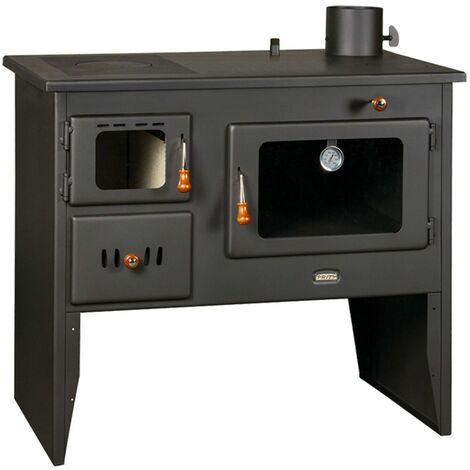Cocina de Leña Hierro Fundido Cocina Horno Superior con caldera de combustible sólido 16 Kw