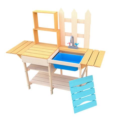 Cocina de madera para niños 109,2x40,4x98,6cm con estantería, para jugar en jardín, balcón o terraza