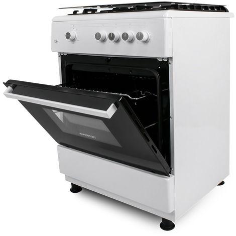 Cocina + Horno INFINITON CC6660BLHE - Blanco + tapa cristal, 4 Fuegos, 65 litros, ancho 60cm, Clase energética A