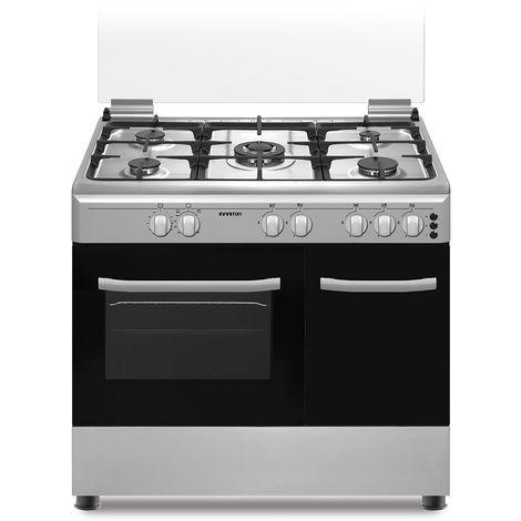 Cocina + Horno INFINITON CC9294XPE - Inox, 5 Fuegos, 60 litros, ancho 60cm, Quemador Wok