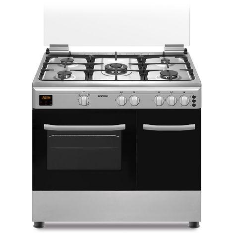 Cocina + Horno INFINITON CC9696XHTP - Inox, 5 Fuegos, 59 litros, ancho 60cm, Quemador Wok